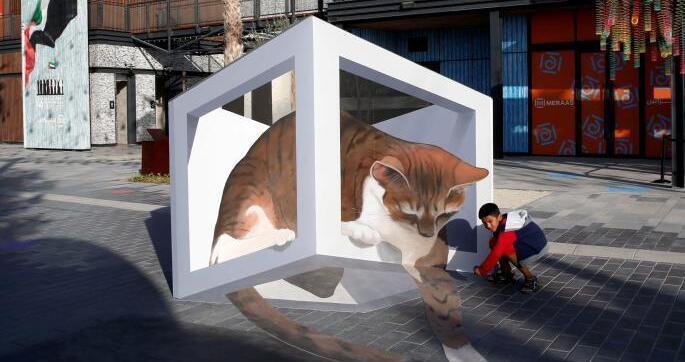 阿联酋迪拜街头现精美3D画 细节逼真惟妙惟肖