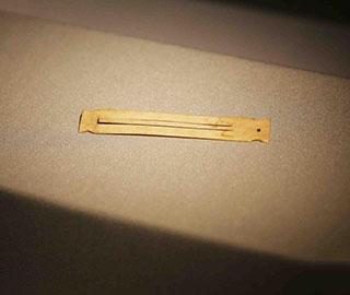 神木石峁遗址现骨制口弦琴 距今约4000年