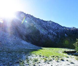 祁连山山上白雪皑皑山下绿草如茵