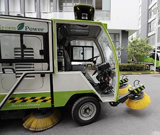 全球首个无人驾驶清洁车亮相上海