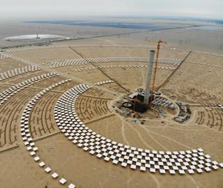 敦煌100MW塔式熔盐光热电站土建完成