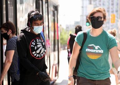 多伦多夏日街头掠影 乘客必须戴口罩