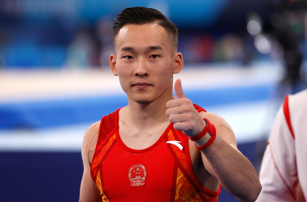 中国体操队在有明体操体育馆训练