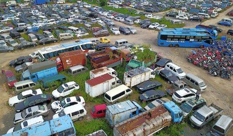 8月21日,记者走进深圳市交警局福田交警大队红树林扣车场采访,俯瞰扣车场景观。