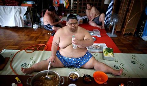 在日本中部城市名古屋著名的Tomozuna训练场,身体互相撞击的声音充斥着令人窒息的相扑练习馆。11位身型巨大的摔跤手只穿着腰布轮流上阵把对方扔出圈外……