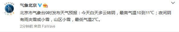北京今日白天最高气温11℃夜间阴有雨夹雪或小雪