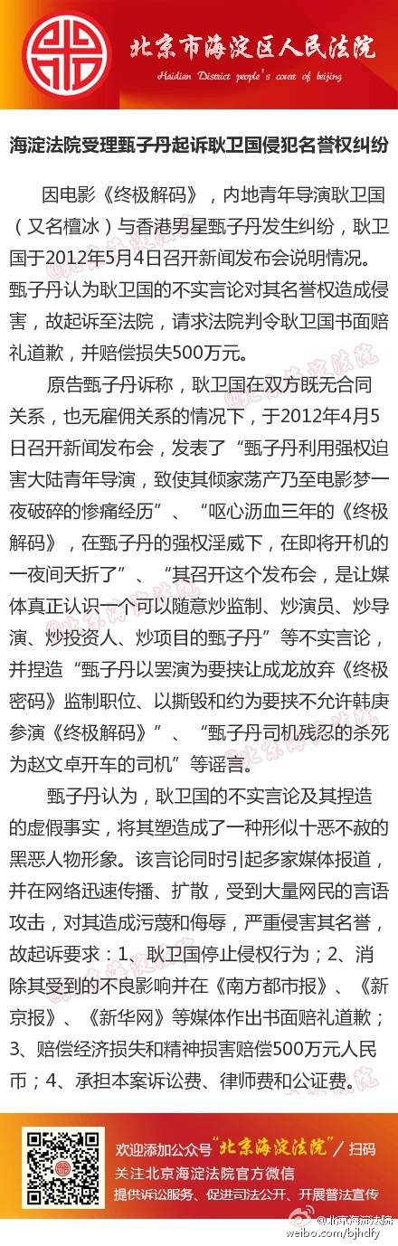 演员甄子丹诉耿卫国案宣判:耿卫国赔偿并赔礼道歉