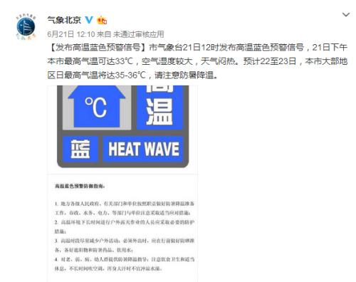 北京今日大部地区日最高气温将达35-36℃