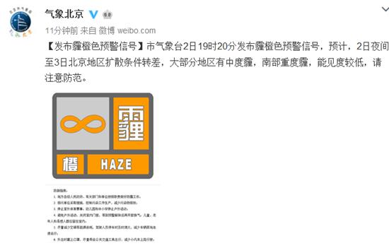 北京发布霾橙色预警:大部分地区有中度霾南部重度霾