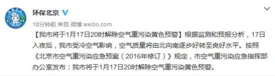 北京将于今日20时解除空气重污染黄色预警