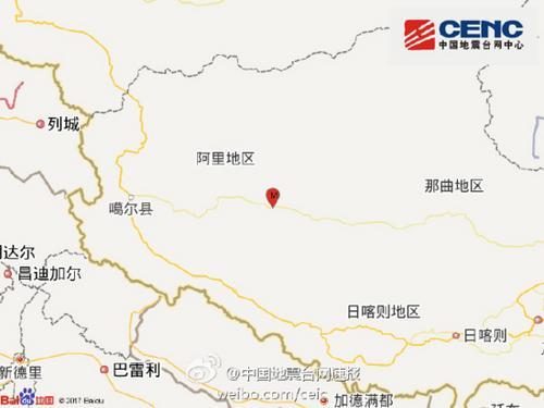 西藏阿里地域盖泽县4.8级地动的震中深度为7公里