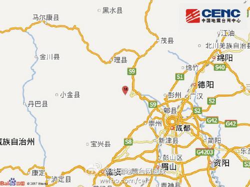 四川阿坝州汶川县发生4.0级地震震源深度13千米