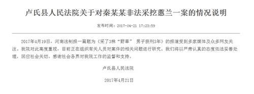 """河南卢氏法院:正研究""""男子采野草获刑3年""""案件"""
