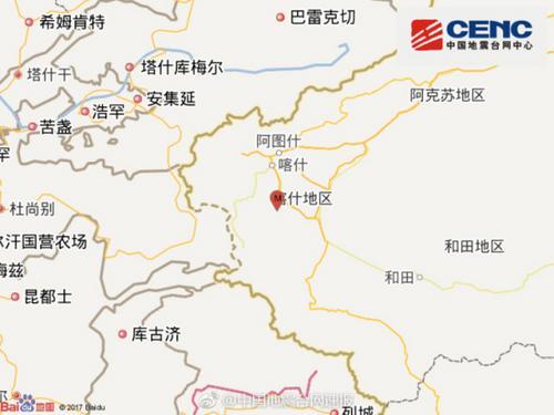 新疆阿克陶县发生3.8级地震震源深度10千米