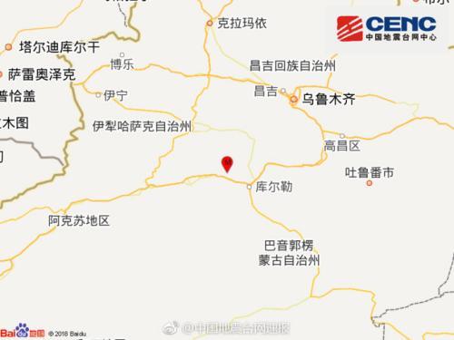 新疆库尔勒市发生4.2级地震震源深度6千米(图)