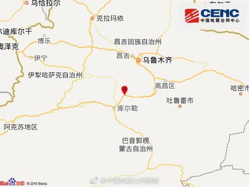 新疆巴音郭楞州和硕县发生3.0级地震震源深度8千米