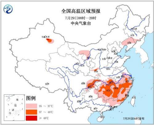 高温黄色预警:重庆湖北新疆等7省市区气温超37℃