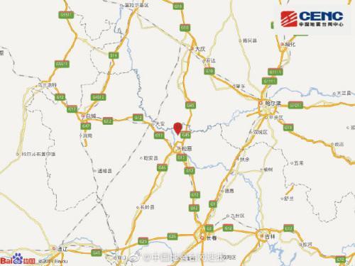 吉林松原市宁江区发生4.0级地震震源深度12千米