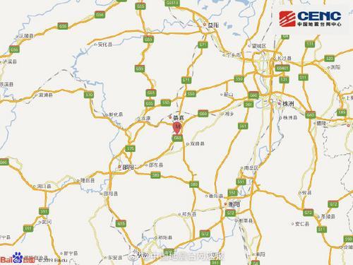 湖南娄底市双峰县发生3.4级地震震源深度8千米