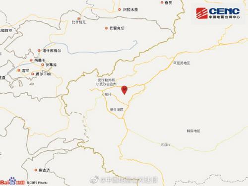 新疆喀什地区伽师县发生3.8级地震震源深度19千米