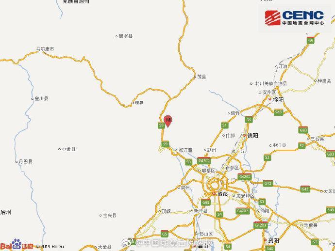 四川阿坝州汶川县发生3.4级地震震源深度22千米