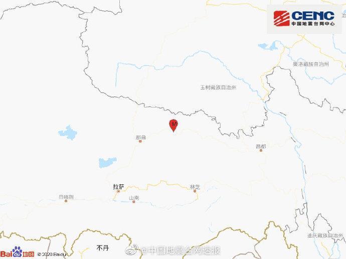 西藏那曲市比如县发生3.7级地震震源深度10千米