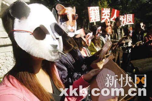 用行为艺术呼吁保护动物