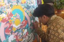 藏族小伙画唐卡 一幅画2年多
