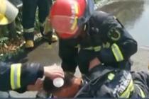 消防员中暑呕吐仍不愿离开