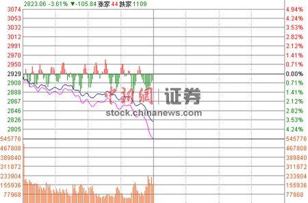 沪指半日跌3.61%失守2900点两市逾2400个股下跌
