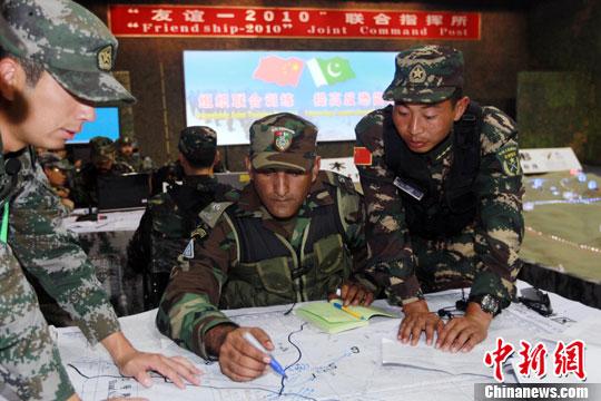 中国 杜洋/中巴反恐联合训练进行联合指挥所演练