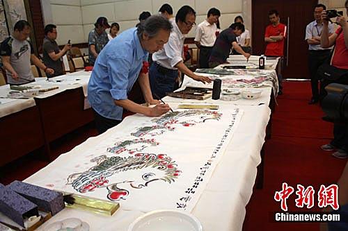 江苏盐城举办书画家公益笔会纪念世界环境日