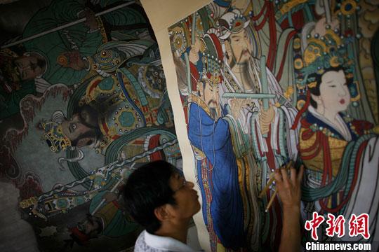 永乐宫寺庙墙体壁画绘画