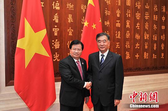 汪洋会见越南副总理郑庭勇