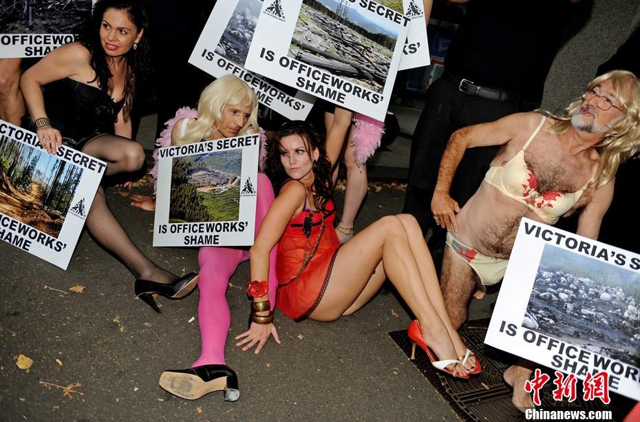 男人也妩媚 环保主义者穿女式内衣抗议滥伐森