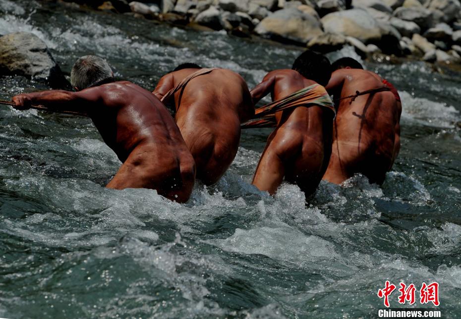 神农溪裸体纤夫 胸腔压出川江号子