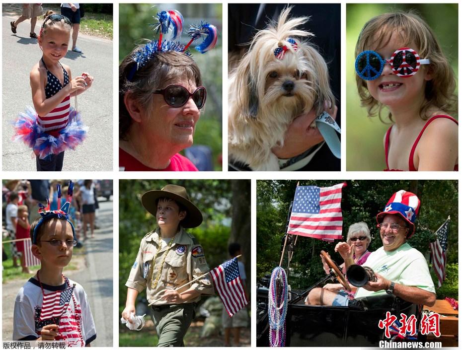 美国民众大游行庆祝国庆日