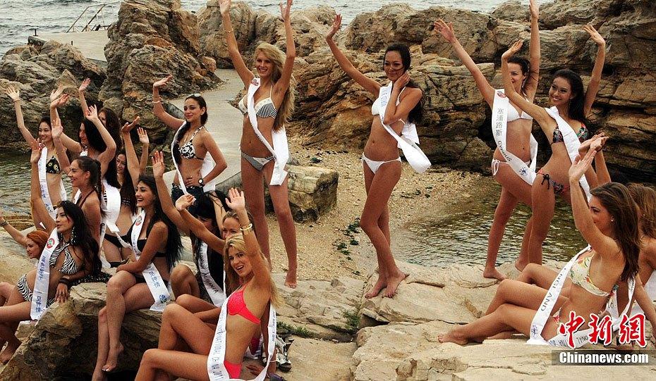世界比基尼模特选手汇聚养马岛展示风采 中新