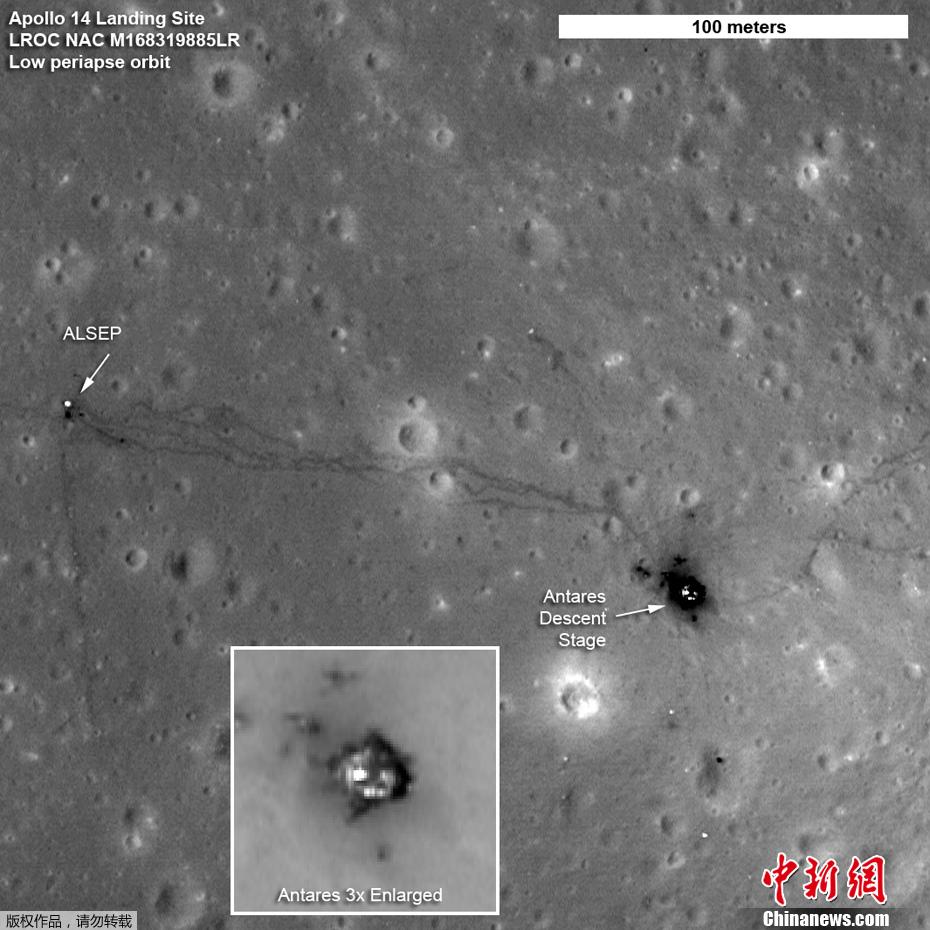 美国宇航局公布照片显示阿波罗登月痕迹