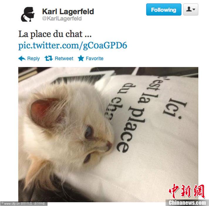 """卡尔/6月12日,""""老佛爷""""卡尔·拉格斐(Karl Lagerfeld)在微博上发布了..."""