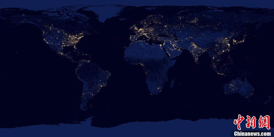 NASA公布地球夜间灯光分布图