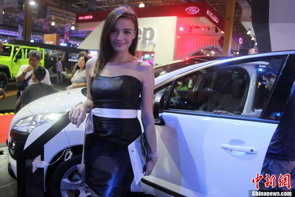 靓丽模特助阵菲律宾马尼拉车展 中新网