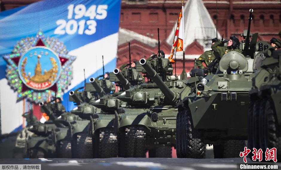 当地时间5月7日,俄罗斯陆军的t-90主战坦克在莫斯科