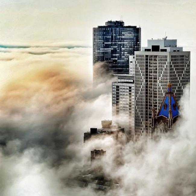 芝加哥隐身晨雾 若隐若现如入仙境