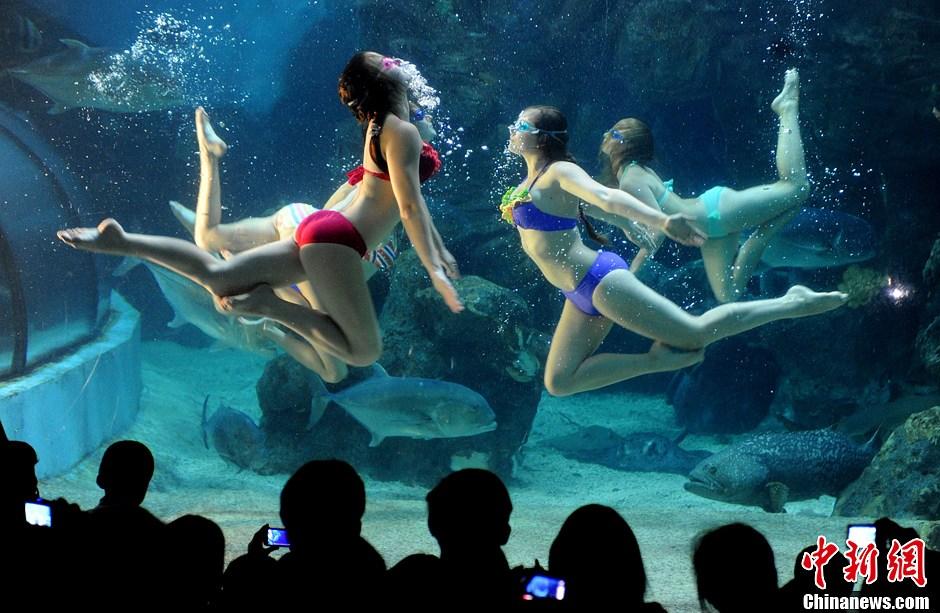 俄罗斯美女水下演绎精彩绝技 中新网