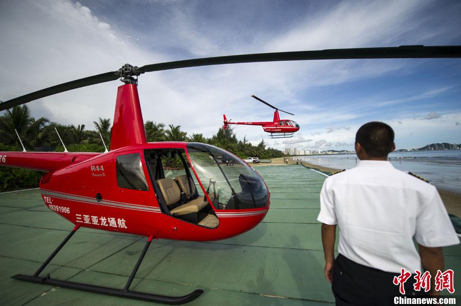 海南三亚湾直升机低空旅游试飞