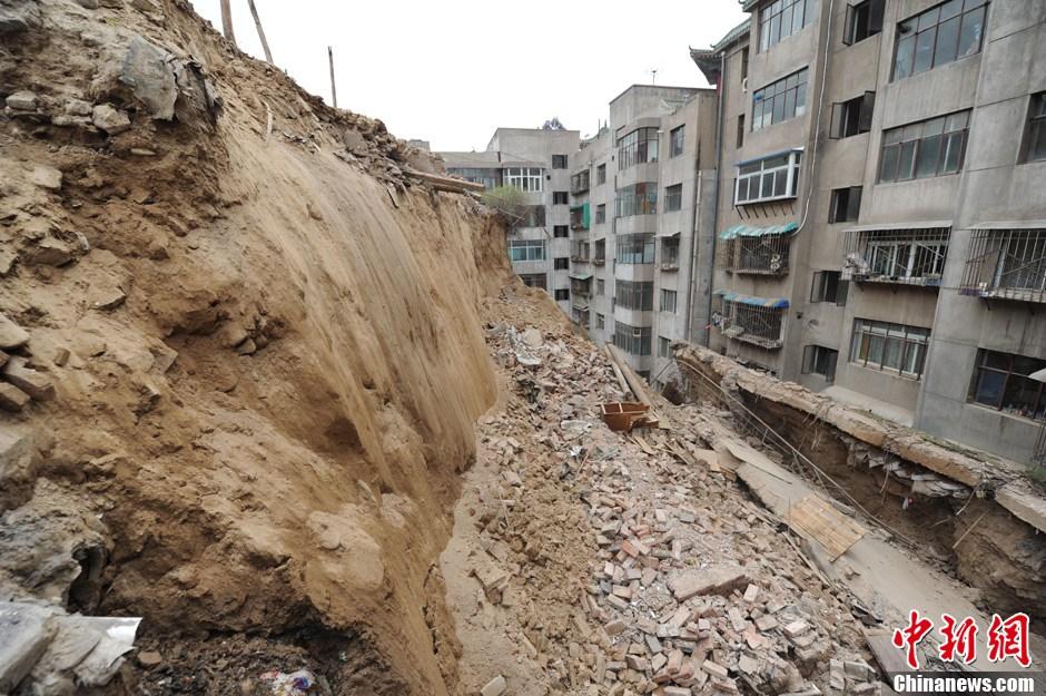 兰州甘肃一护坡单元封堵泥砖崩塌两视频门树町田小区图片