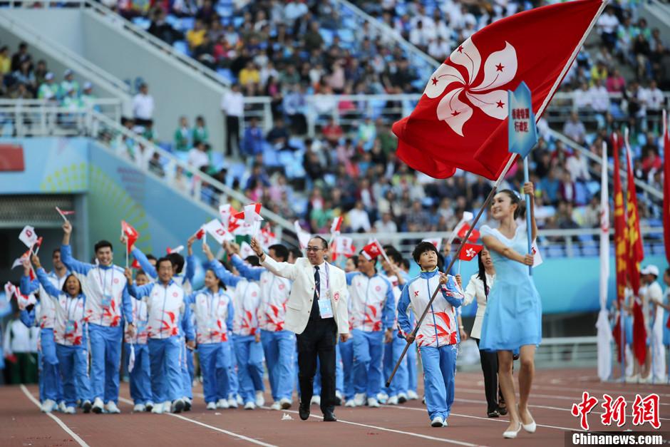 第十二届全运会开幕 香港特别行政区代表团入场