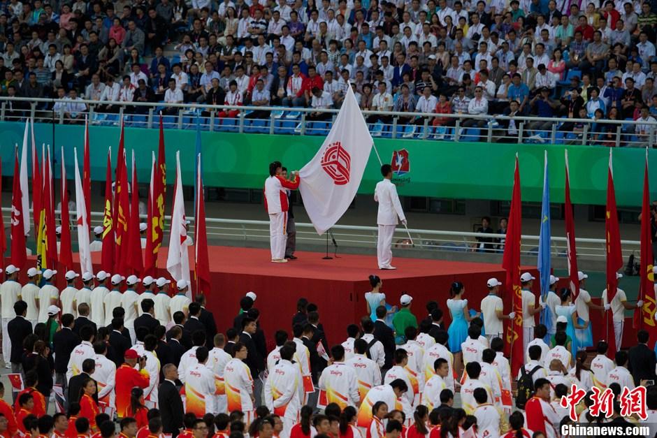 第十二届全运会开幕 运动员代表孙玉洁宣誓