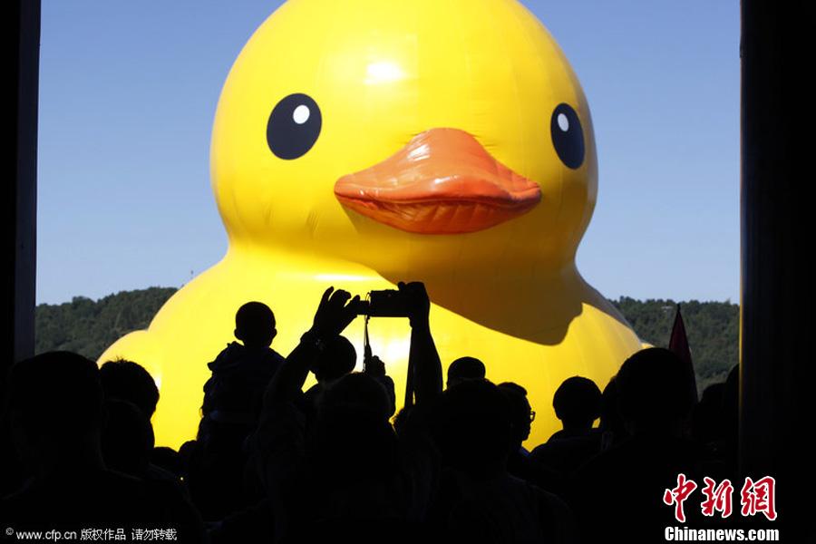 """""""大黄鸭""""颐和园展出逢国庆 人潮汹涌场面壮观"""